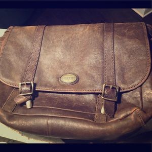 Fossil Leather Messenger Bag, Men's
